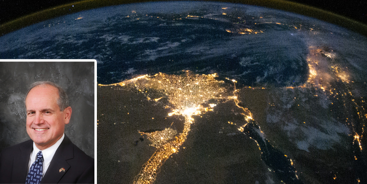 NOBTS professor of theology and Islamic studies and former missionary to the Middle East Mike Edens. Photo of Nile River Delta by night courtesy of NASA.