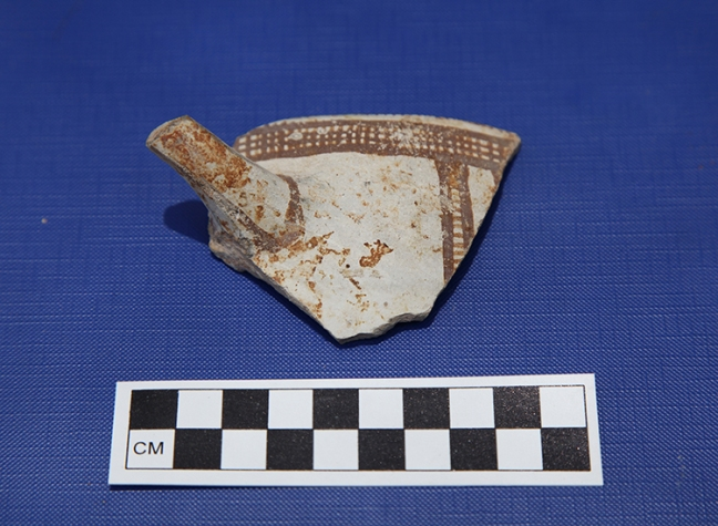 A Cypriot pottery sherd found at the Gezer Water System dig site.