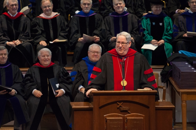 NOBTS President Chuck Kelley challenges graduates to 'bring them home' during his commencement speech Dec. 13.
